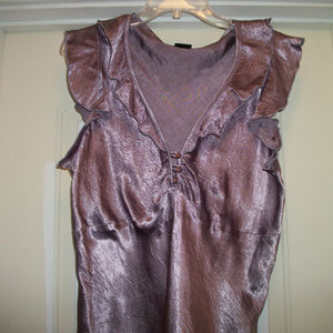 LOVELY LAVENDER SATIN RUFFLED NEW BLOUSE MIXIT XL